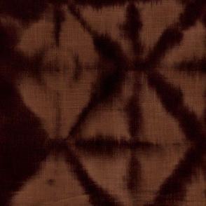 Soft tie dye boho texture winter shibori traditional Japanese neutral cotton print rust ruset copper brown night XL