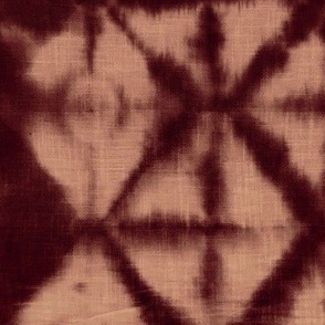 Soft tie dye boho texture winter shibori traditional Japanese neutral cotton print rust coral brown XL