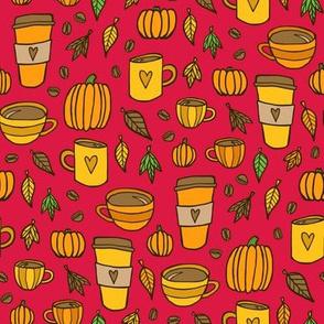 Pumpkins & Coffee (Red)