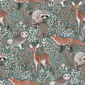 Brown-Forest-Animals pastel green
