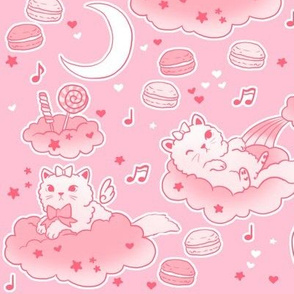large scale pink cats and clouds