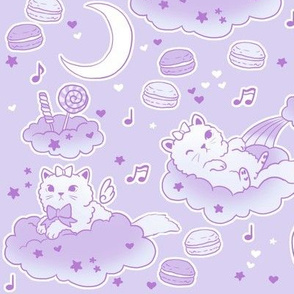large scale purple kitties and clouds