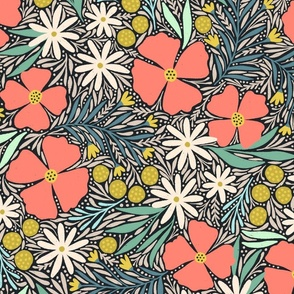 Hilda floral (coral)