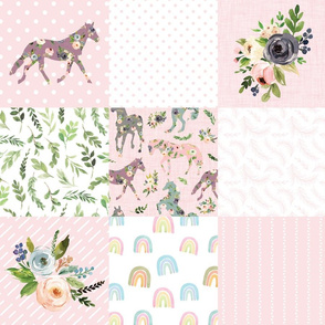 blush floral horse and rainbows cheater quilt - 6 inch squares
