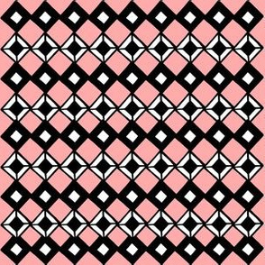 Tiny Black and White Diamonds on Pink