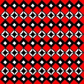 Tiny Black and White Diamonds on Red