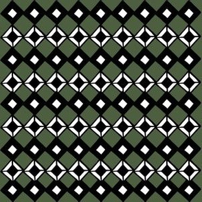 Tiny Black and White Diamonds on Forest Green