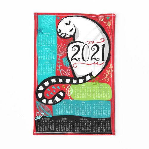 2021 Kitty Dearest Calendar Tea Towel