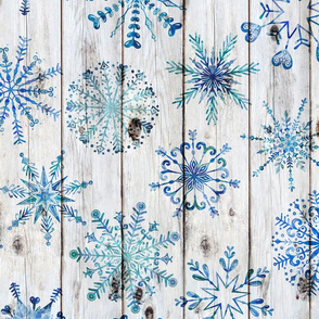 Blue Snowflakes on Wood rotated - large scale