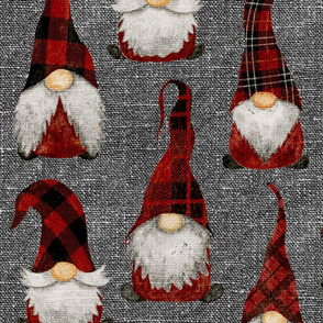 Red Buffalo Plaid Gnomes on Grey linen - large scale