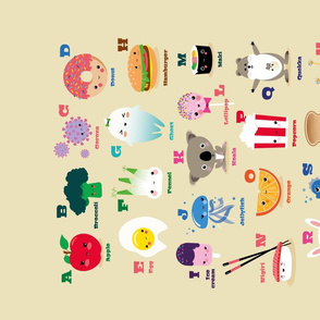 Tea Towel ABC with Kawaii Illustrations