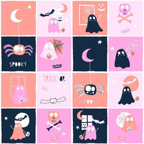 Ghosts quilt blocks pink and coral
