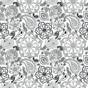 paisley lines black on white sm