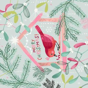 Christmas Bird Feeder Tea Towel