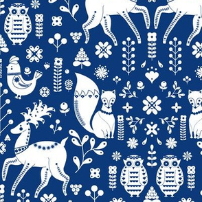 Whimsical Scandinavian Folk  With Cute Forest Animals
