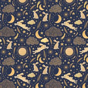 Harvest Moon Hares - Golden on indigo