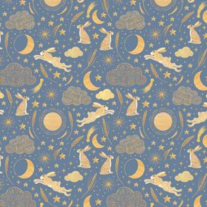 Harvest Moon Hares - Golden on misty blue
