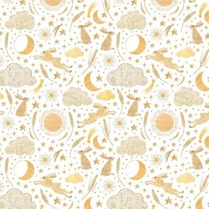 Harvest Moon Hares - Golden on white
