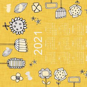 2021 tea towel calendar floral  mustard