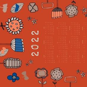 2021 tea towel calendar floral red