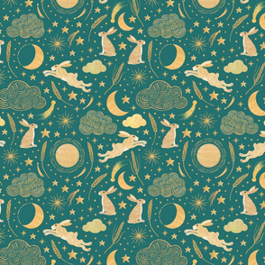Harvest Moon Hares - Golden on teal