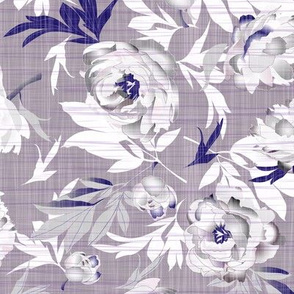 peonies gray-purple on linen texture