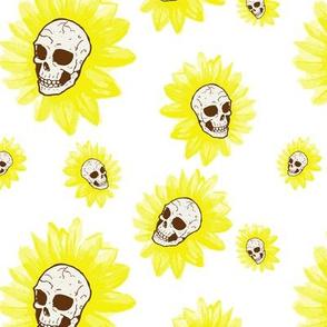 Spooky Sunflower Skulls on White