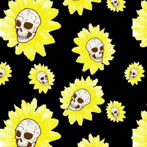 Spooky Sunflower Skulls on Black