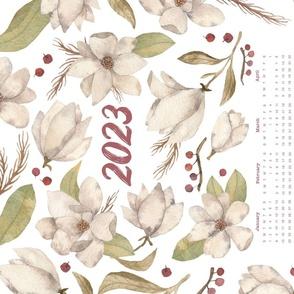 Watercolor Magnolia and Berries Tea Towel Calendar