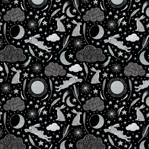 Harvest Moon Hares - Silver on black