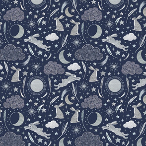 Harvest Moon Hares - Silver on indigo