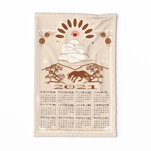 El Chupacabra 2021 tea towel calendar in New Mexican Spanish