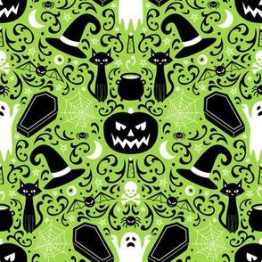 Halloween Damask (Green Small)