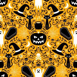 Halloween Damask (Orange Small)