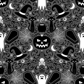 Halloween Damask (Gray Small)
