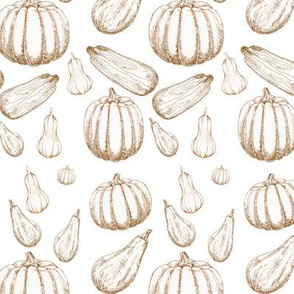 Line Drawing Autumn Fresh Gourds