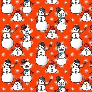snowmen on orange