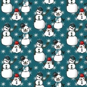 snowmen on dark blue