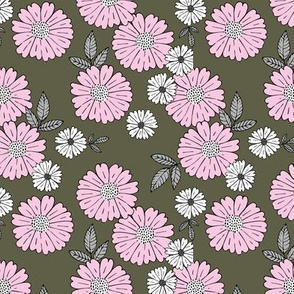 Sweet gerbera daisy flowers autumn winter boho blossom garden vintage english style neutral nursery cameo camouflage green pink