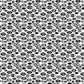 Beautiful eyes retro eye lash and love wink retro illustration monochrome black and white pattern XXS