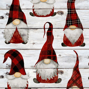 Red Buffalo Plaid Gnomes on Shiplap - large scale