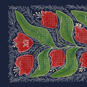 Tulip Tea Towel Calendar Red-Green-Blue