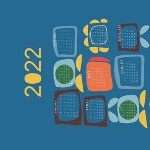 2021 tea towel calendar retro block b