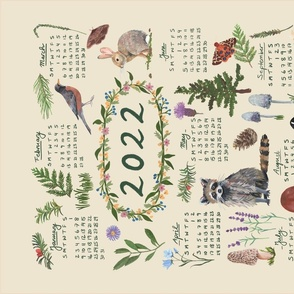 2021 Calendar Tea Towel - Woodland