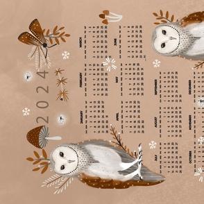 owl calendar green