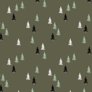 Little woodland pine tree forest christmas trees holiday seasonal winter print camo camouflage green