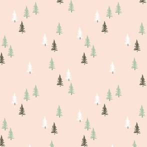Little woodland pine tree forest christmas trees holiday seasonal winter print soft pastel beige green