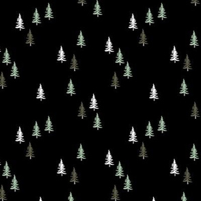 Little woodland pine tree forest christmas trees holiday seasonal winter print black green white night