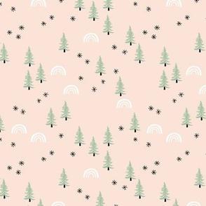 Christmas trees and rainbow seasonal holiday design green soft peach beige