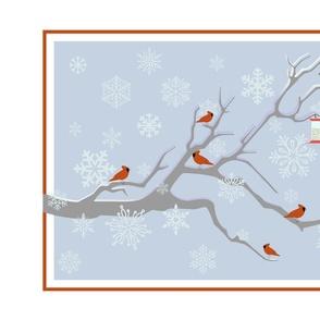 winter tweet tea towel